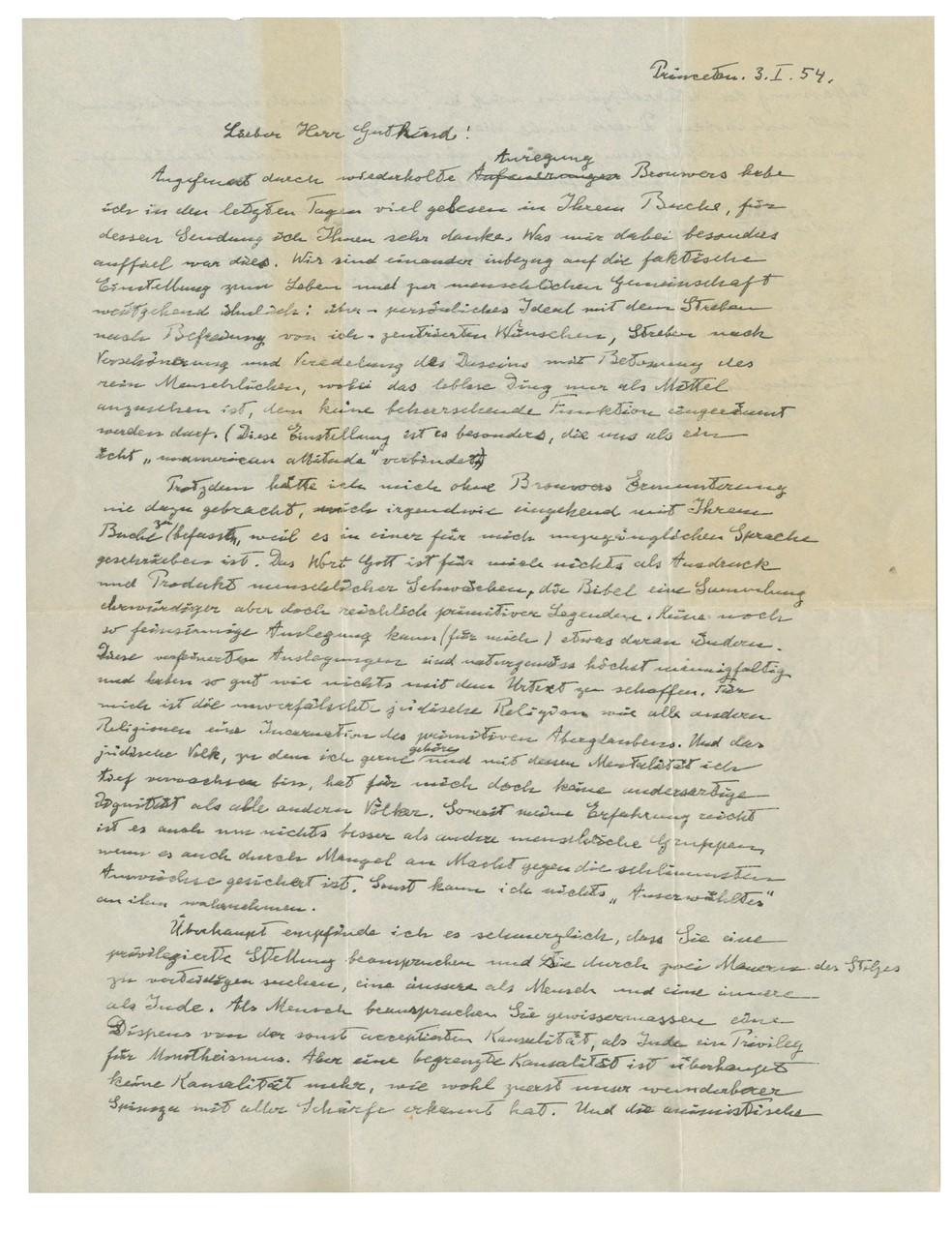 """Carta conhecida como """"A Carta Divina"""", escrita por Albert Einstein e dirigida ao filósofo Eric Gutkind, de 1954, é vista nesta foto fornecida pela casa de leilões Christie's em Nova York. — Foto: Christie's Images Limited 2018/Handout via REUTERS"""