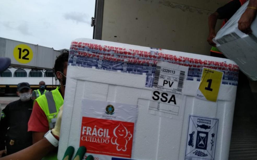 Imunizantes chegaram por volta das 10h no aeroporto de Salvador — Foto: Reprodução/Twitter/Fábio Vilas-Boas