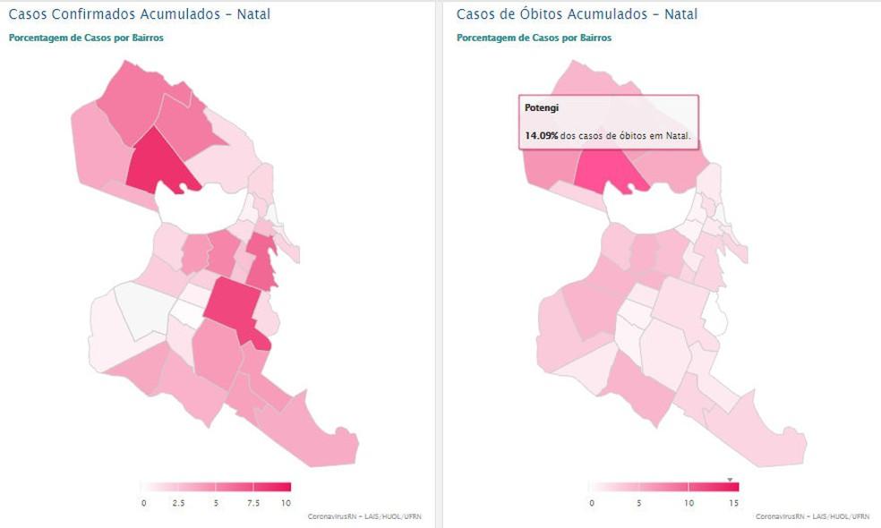 LAIS/UFRN apresenta dados de casos confirmados e óbitos por Covid-19 por bairros de Natal — Foto: Reprodução