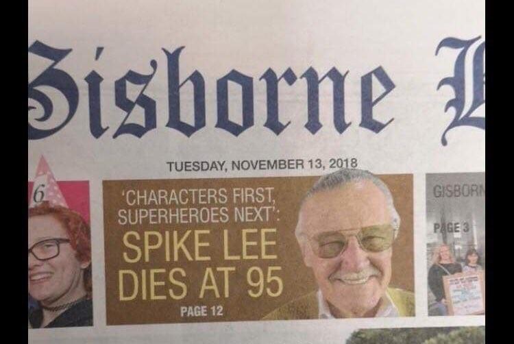 Capa do jornal que confundiu Spike com Stan Lee (Foto: reprodução)