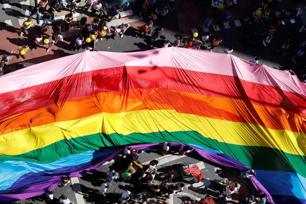 Parada do orgulho LGBT em São Paulo — Foto: Nacho Doce/Reuters