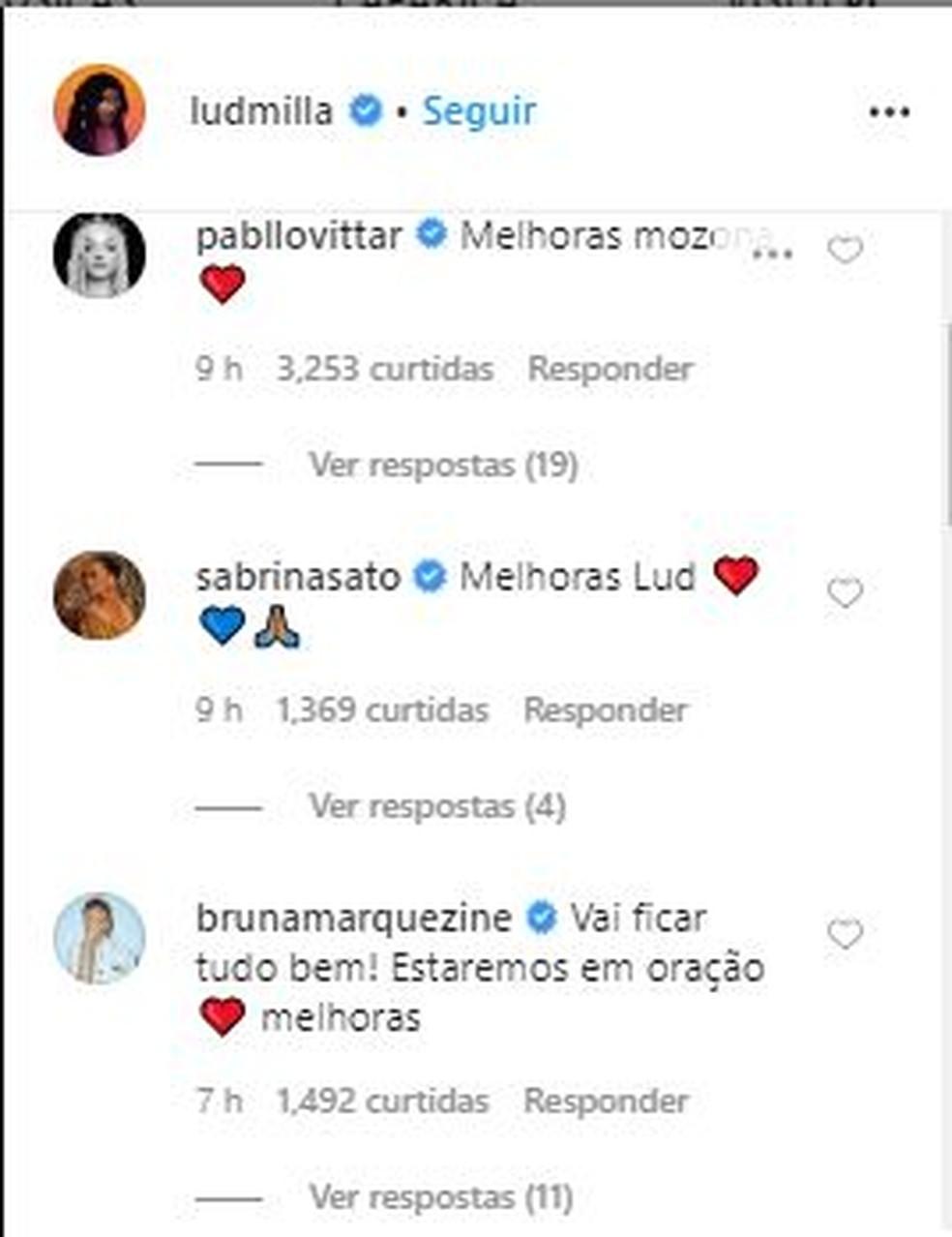 Bruna Marquezine, Luisa Sonza e outros famosos enviam mensagens para Ludmilla; cantora segue sem previsão de alta — Foto: Reprodução/Instagram