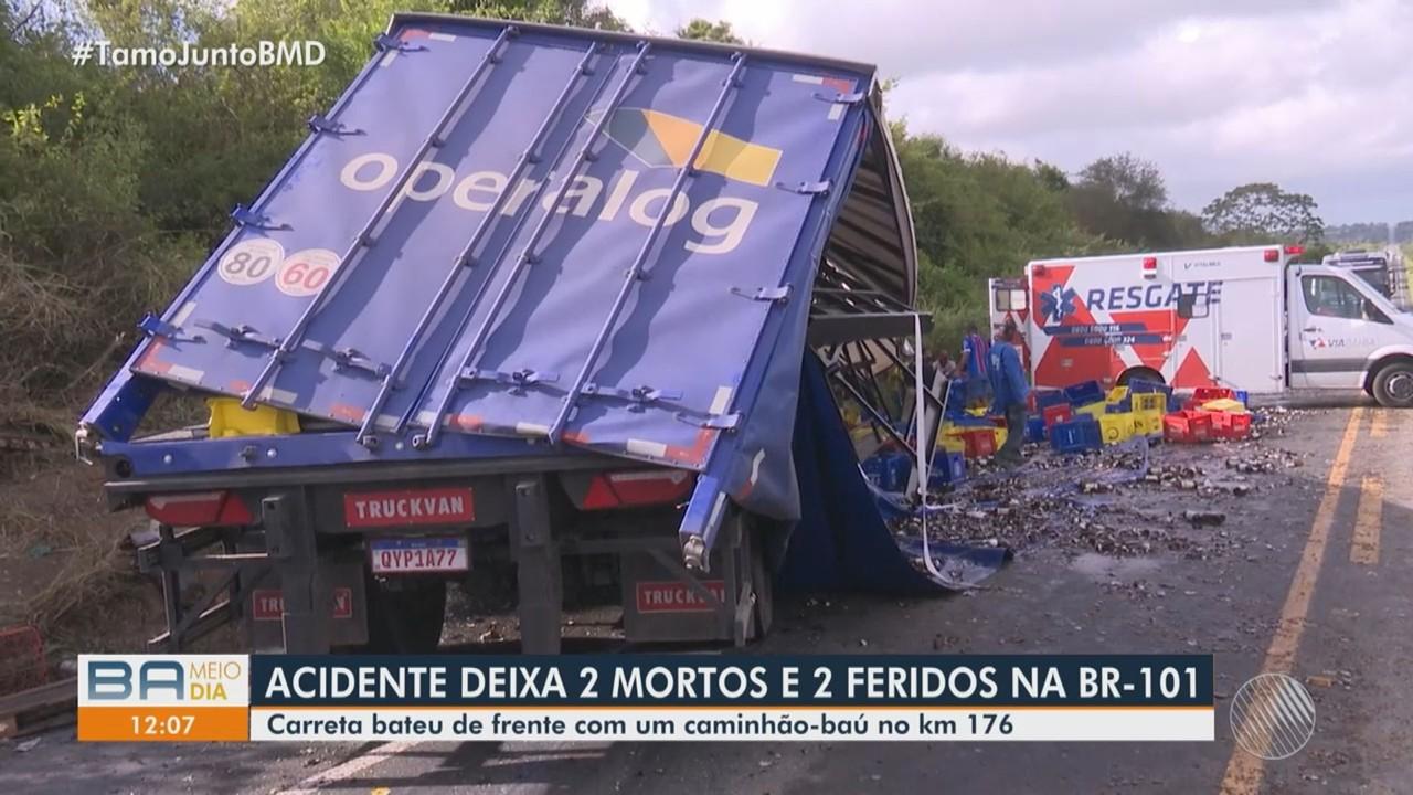 Batida entre carreta e caminhão deixa dois mortos na BR-101, na região de Feira de Santana