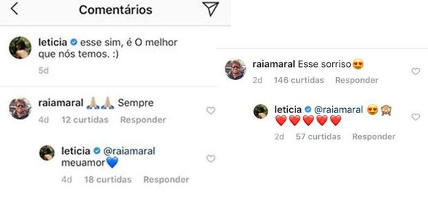 Comentários de Letícia Almeida e Raí Amaral (Foto: Reprodução/Instagram)