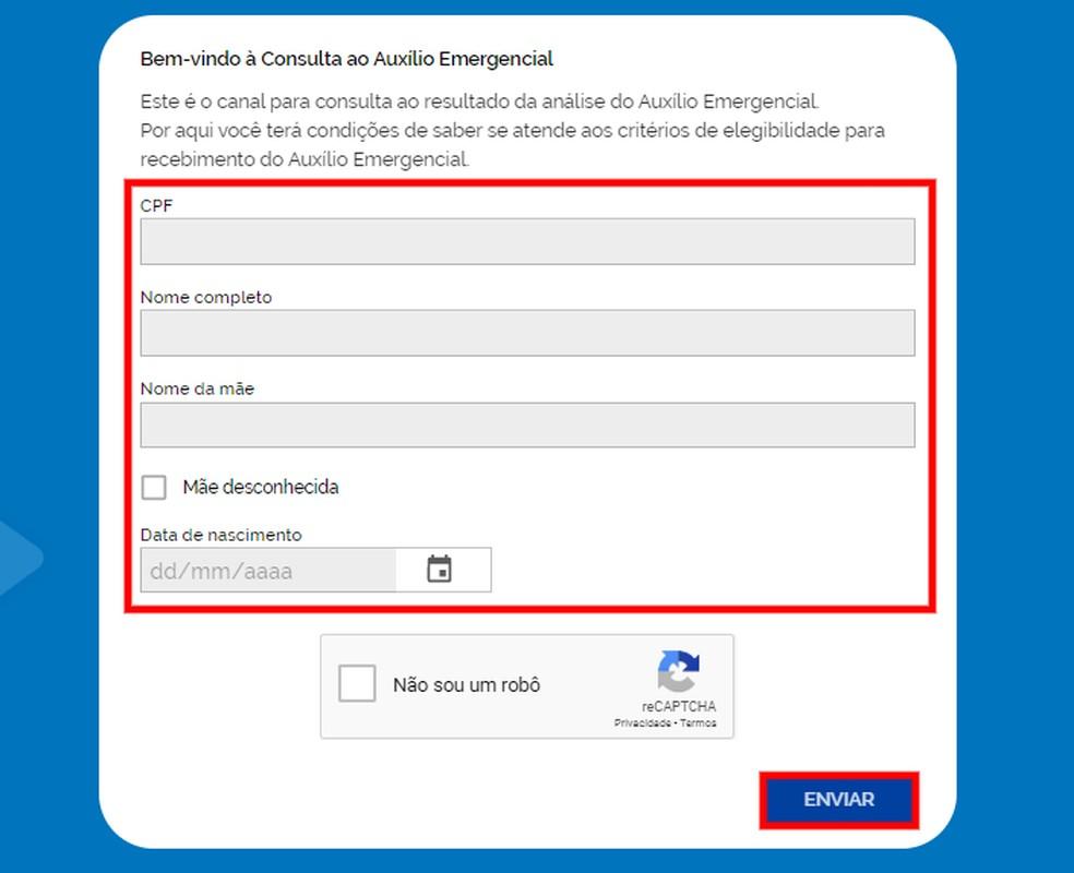 Preencha o formulário com seus dados no site do Auxílio Emergencial — Foto: Reprodução/Rodrigo Fernandes