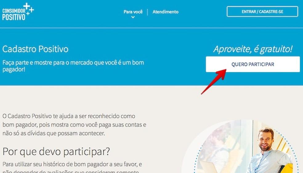 """Na página inicial de cadastro positivo da Bela Vista, clique no botão branco escrito """"Quero participar"""" (Foto: Reprodução/Helito Bijora)"""