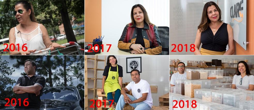 G1 ouviu novamente entrevistados em 2016 e 2017 e mostra como foi o último ano para suas vidas pessoal e profissional — Foto: Marcelo Brandt, Caio Kenji, Flavio Moraes e Celso Tavares/G1