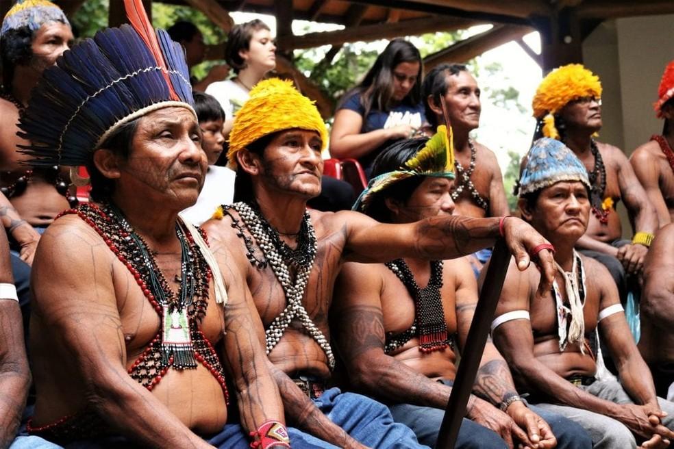 Os Munduruku são um povo com mais de 13 mil pessoas que vivem em territórios ao longo do curso do rio Tapajós — Foto: Foto: Adi Spezia/Cimi