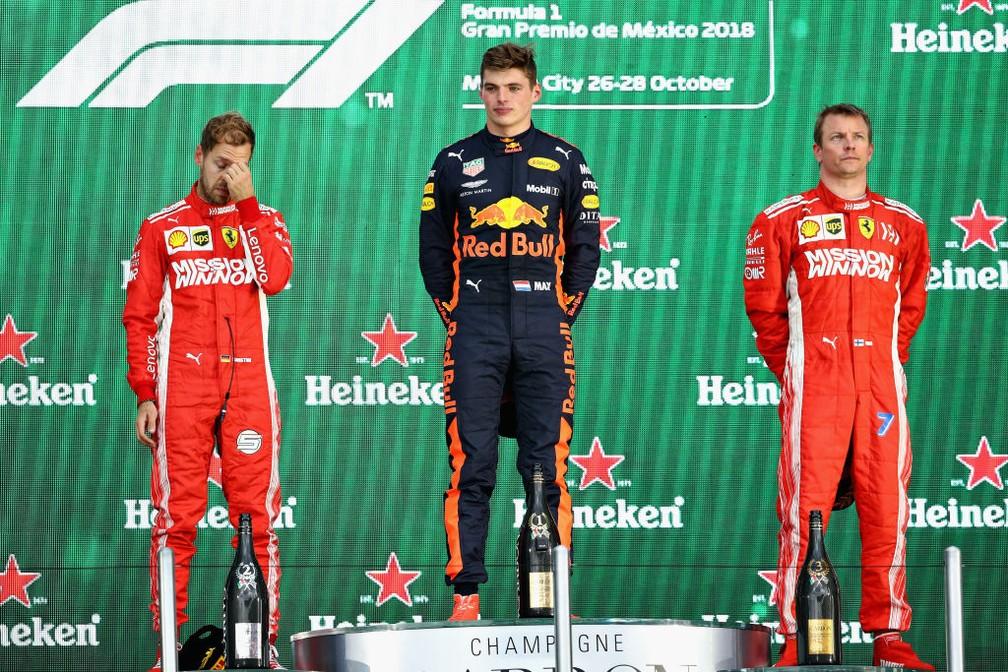 O pódio do GP do México de 2018 — Foto: Getty Images