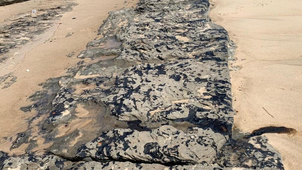 Mancha de óleo na Praia de Sabiaguaba, em Fortaleza. — Foto: Thiago Gadelha/Sistema Verdes Mares