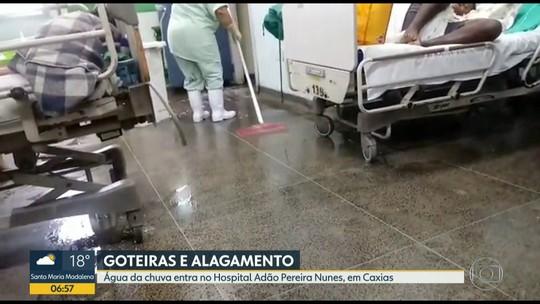 Chuva forte alaga ruas e hospital no primeiro dia do ano na Baixada Fluminense