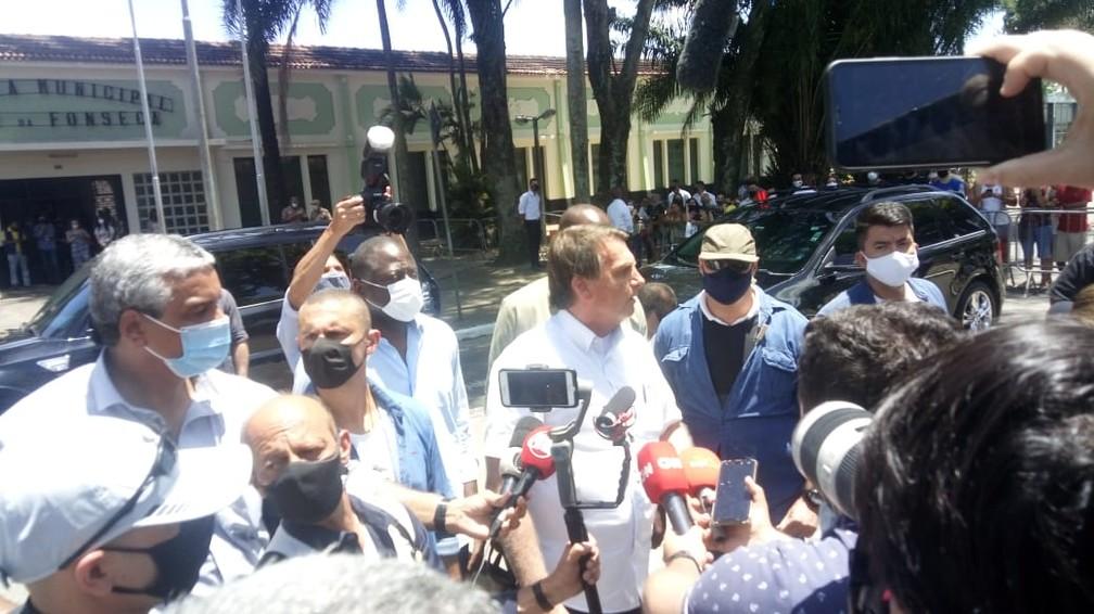 Bolsonaro defende o voto impresso — Foto: Cristina Boeckel/G1 Rio