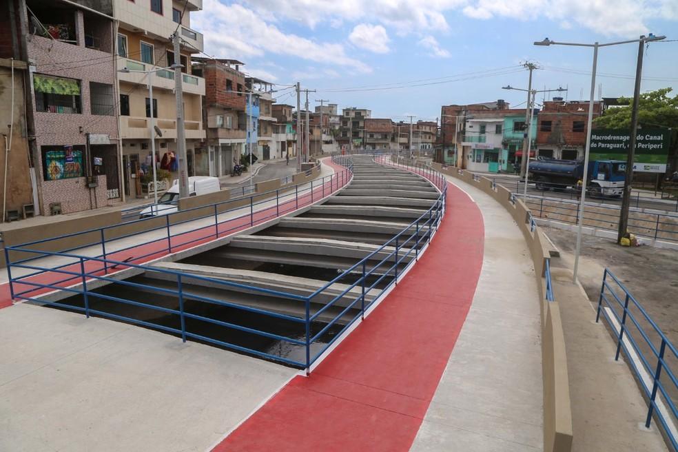 Canal do Paraguari foi inaugurado nesta sexta-feira (13), no subúrbio de Salvador — Foto: Bruno Concha/Secom Prefeitura