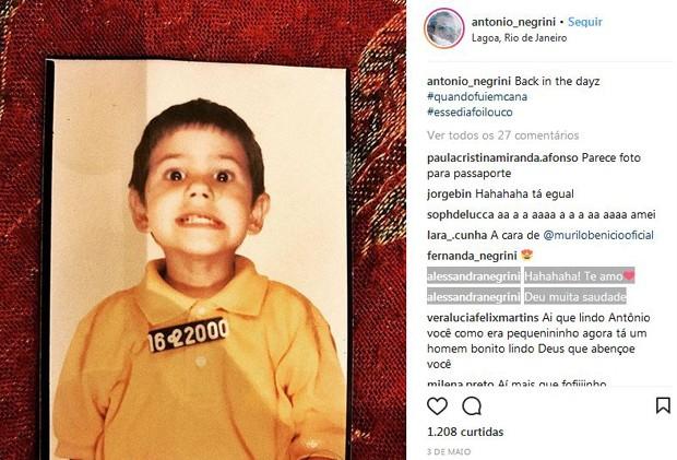 Negrini comenta no Insta de Antônio (Foto: Reprodução/Instagram)