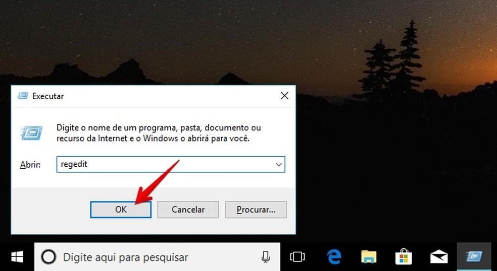 Execute o editor de registro do Windows (Foto: Reprodução/Helito Bijora)