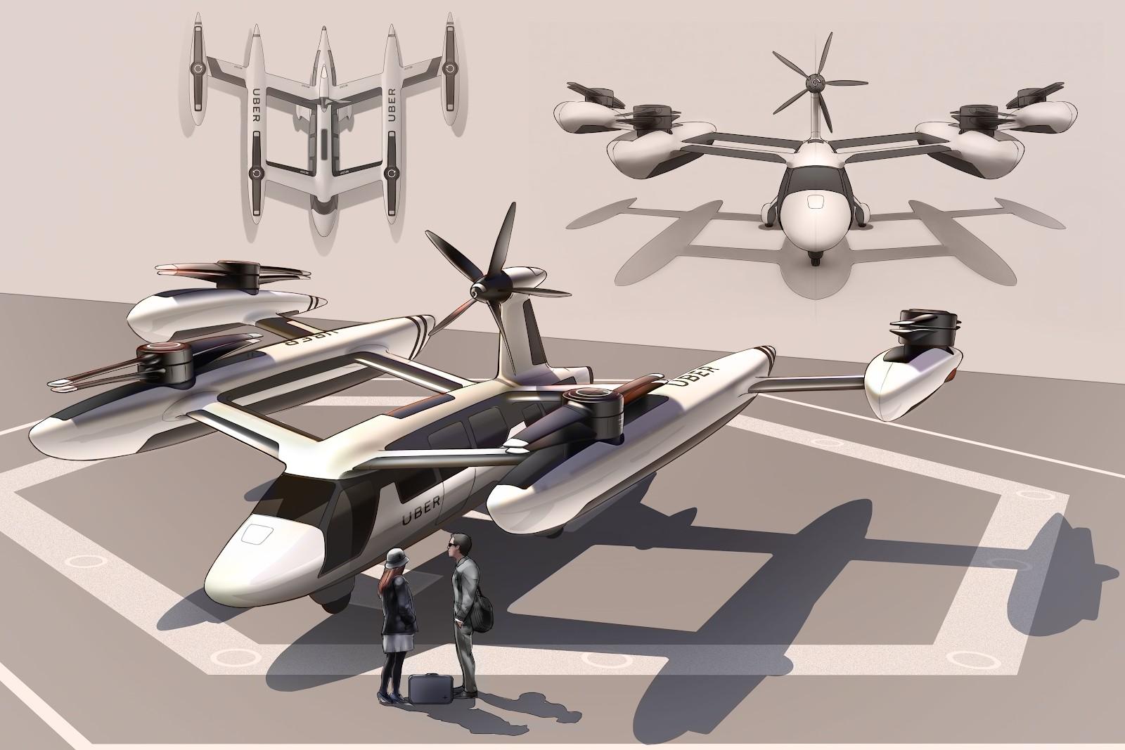 Protótipos dos veículos aéreos da Uber (Foto: Divulgação)