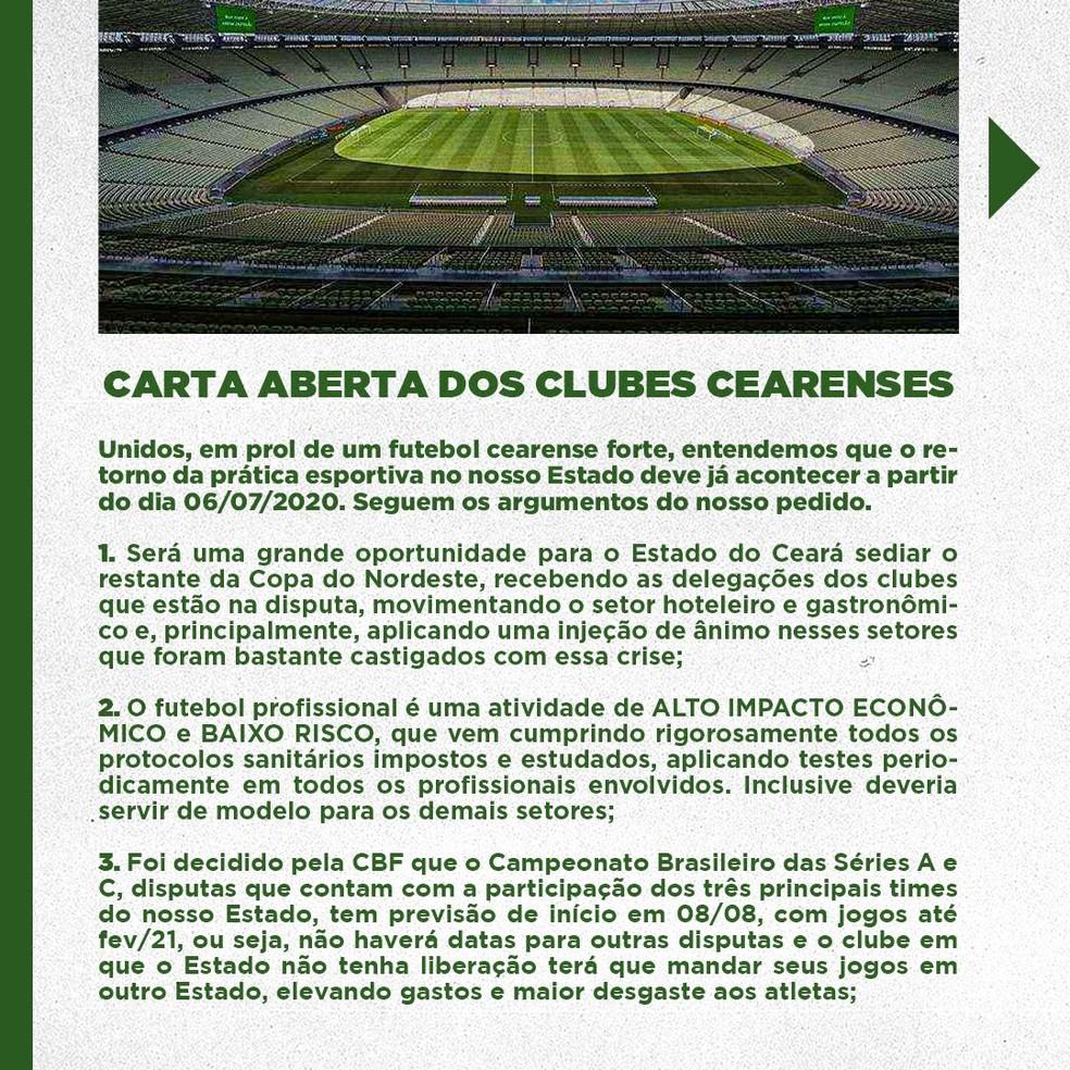 Carta aberta; clubes cearenses; Copa do Nordeste — Foto: Divulgação