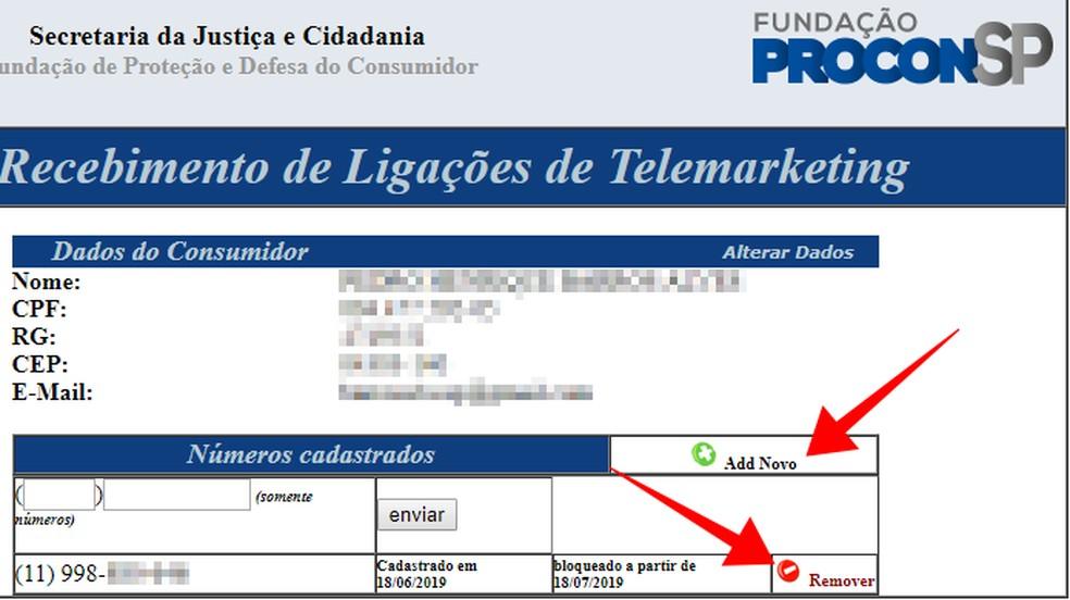 Adicione ou exclua números do seu cadastro no Procon-SP — Foto: Reprodução/Paulo Alves