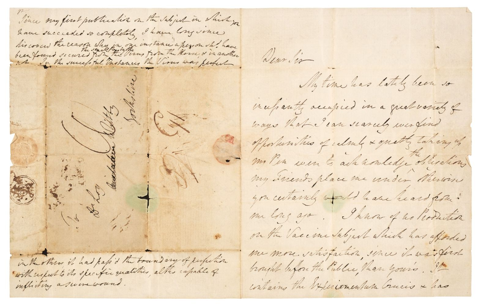 A carta de Edward Jenner era endereçada ao também médico John Glover Loy (Foto: Printed Books, Maps & Decorative Prints, Autographs, Documents, The Donald & Monique King Collection)