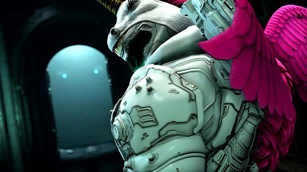 Doom Eternal terá inusitada skin de unicórnio exclusiva para assinantes no Twitch Prime — Foto: Reprodução/Gematsu