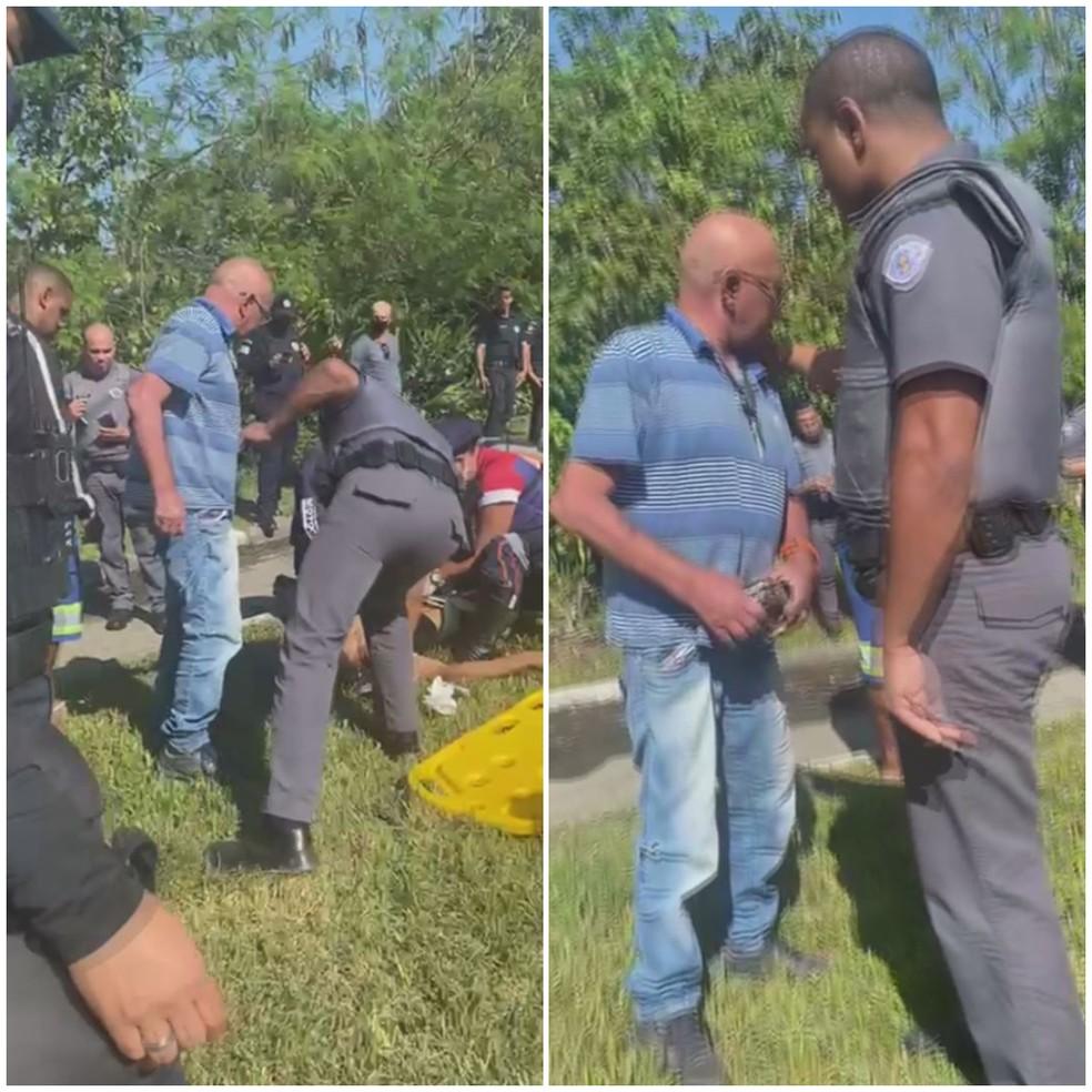 Pai se revoltou ao descobrir que filho havia sido flagrado roubando motoristas em Guarujá, SP — Foto: Reprodução/Facebook/Plantão Guarujá