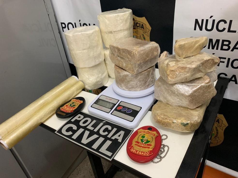 O material apreendido foi encaminhado para a Delegacia Regional de Juazeiro do Norte, no Ceará. — Foto: Edson Freitas/TV Verdes Mares