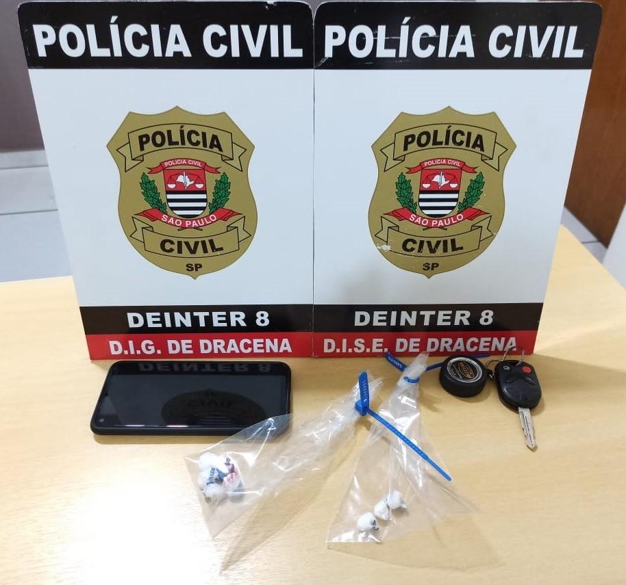 Com porções de cocaína, dono de lava-rápido é preso suspeito de vender drogas em Dracena