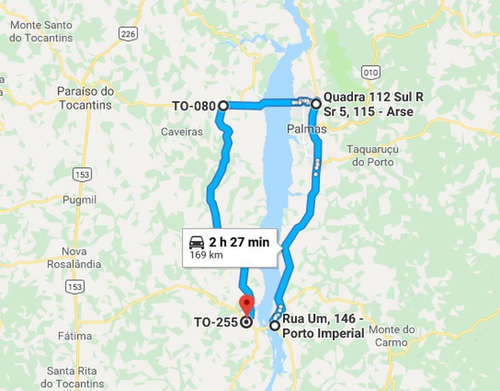 Desvio coma  interdição da ponte é de aproximadamente 170 km — Foto: Reprodução/Google Maps
