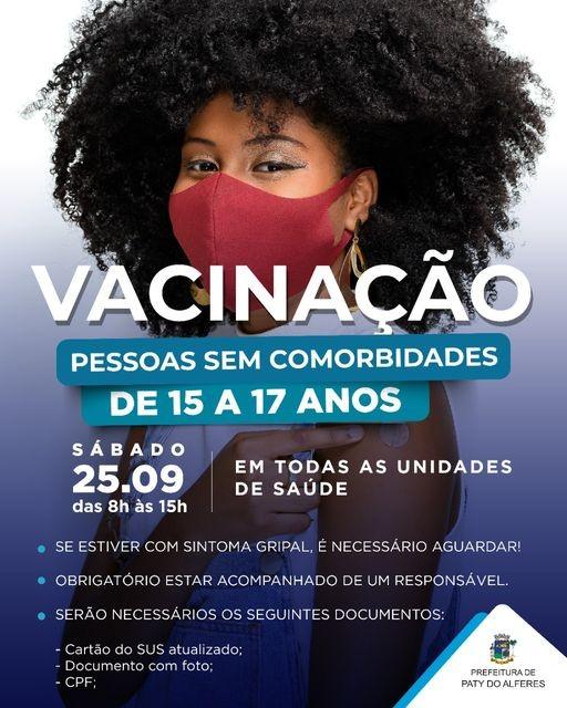 Paty do Alferes vacina adolescentes de 15 a 17 anos neste sábado