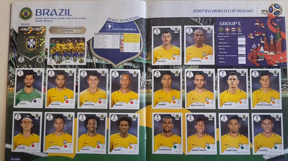 A seleção brasileira no álbum da Copa do Mundo: Daniel Alves e Giuliano não estarão na Copa (Foto: Reprodução / Panini)