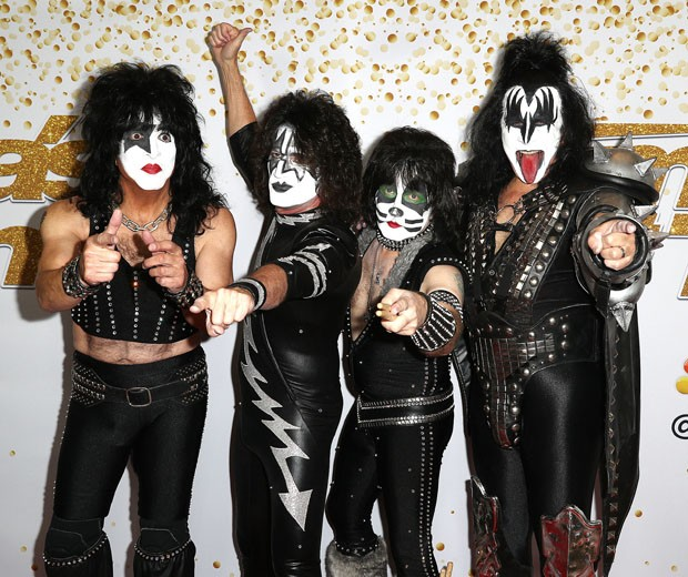 Paul Stanley, Tommy Thayer, Eric Singer e Gene Simmons, da banda Kiss (Foto: Getty Images)
