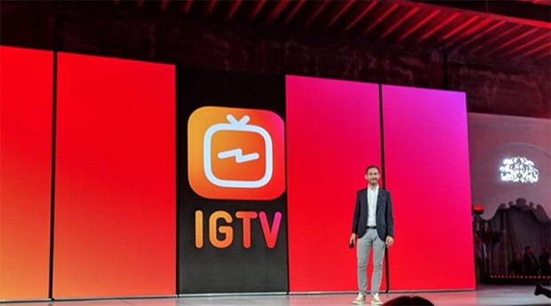 O anúncio do IGTV  foi feito pelo presidente executivo do Instagram, Kevin Systrom (Foto: Reprodução)