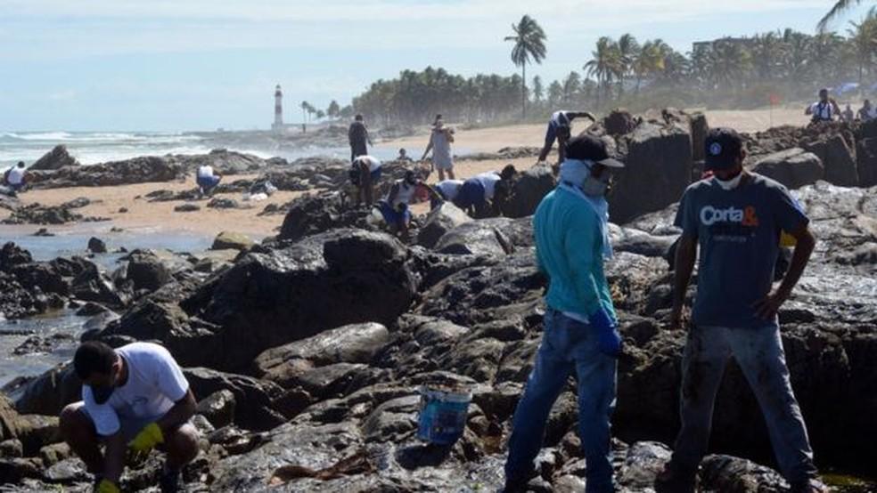 Com Farol de Itapuã ao fundo, voluntários trabalham na limpeza do óleo em Salvador — Foto: Victor Uchôa/BBC News Brasil