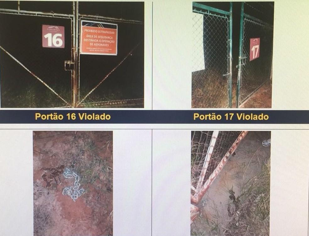 Portões foram danificados por quadrilha durante roubo em Viracopos — Foto: Reprodução/ Fantástico