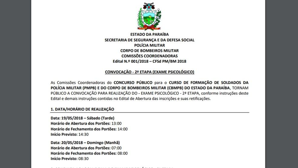 Edital de convocação dos candidatos aprovados para segunda fase do concurso da PM e Bombeiros da PB (Foto: Reprodução/IBFC)