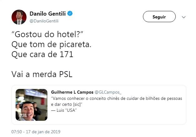 Danilo Gentili criticou deputados do PSL