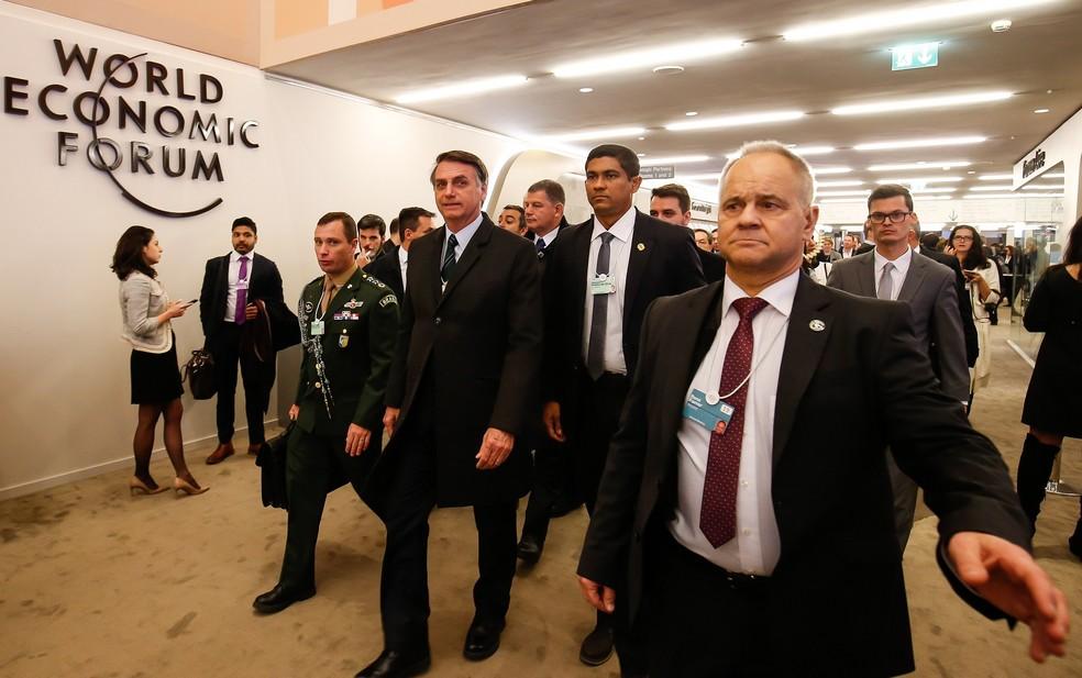 O presidente Jair Bolsonaro durante o Fórum Econômico Mundial, em Davos — Foto: Alan Santos/Presidência da República