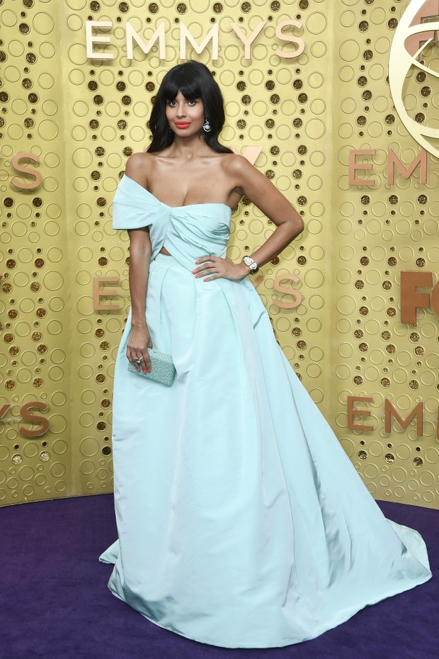 Jameela Jamil usa Monique Lhuillier (Foto: Getty Images)