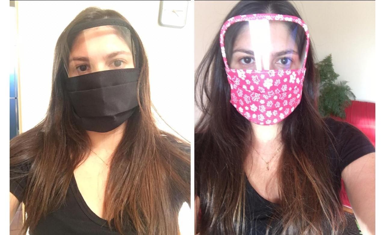 Moradora faz máscaras com viseiras para profissionais que trabalham com público: 'Proteção a mais'