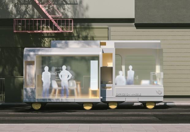 Carros autônomos poderão adquirir vários formatos no futuro – até mesmo o de escritórios (Foto: Space 10)