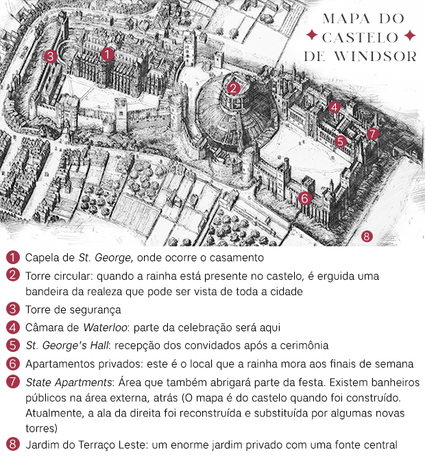 Mapa do Castelo de Windsor - Infográfico (Foto:  )