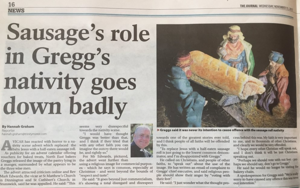 Repercussão do presépio da Greggs na imprensa britânica