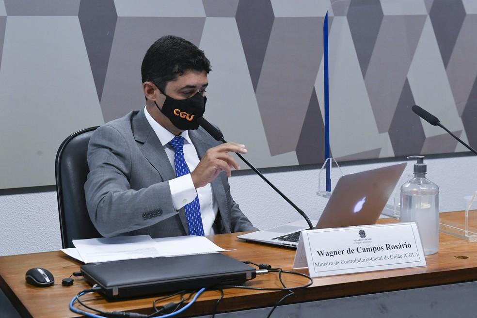 Wagner Rosário na CPI da Covid — Foto: Roque de Sá/Agência Senado