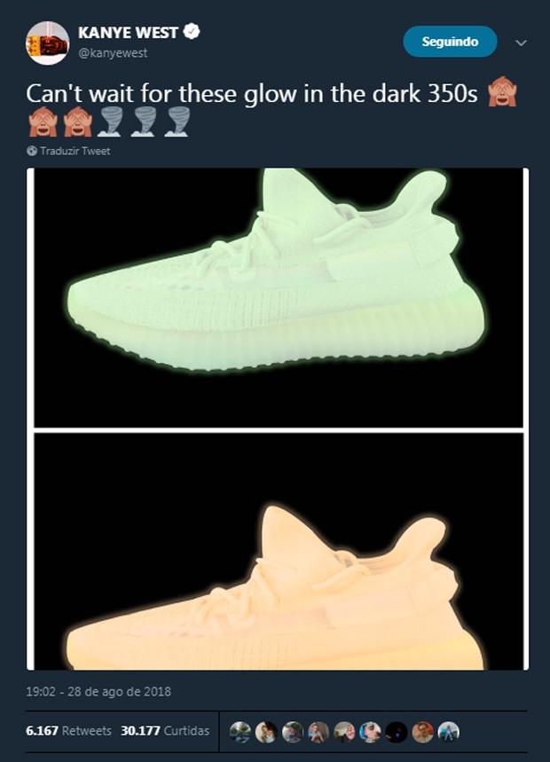 Os possíveis Yeezy 'glow in the dark' de Kanye West (Foto: Reprodução/Twitter)