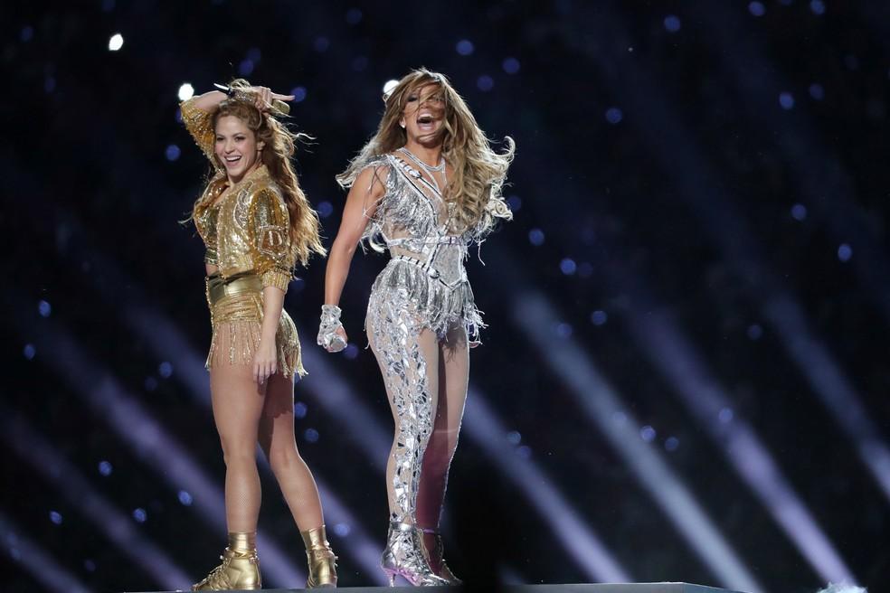 Shakira e Jennifer Lopez Super Bowl show do intervalo — Foto: REUTERS/Shannon Stapleton