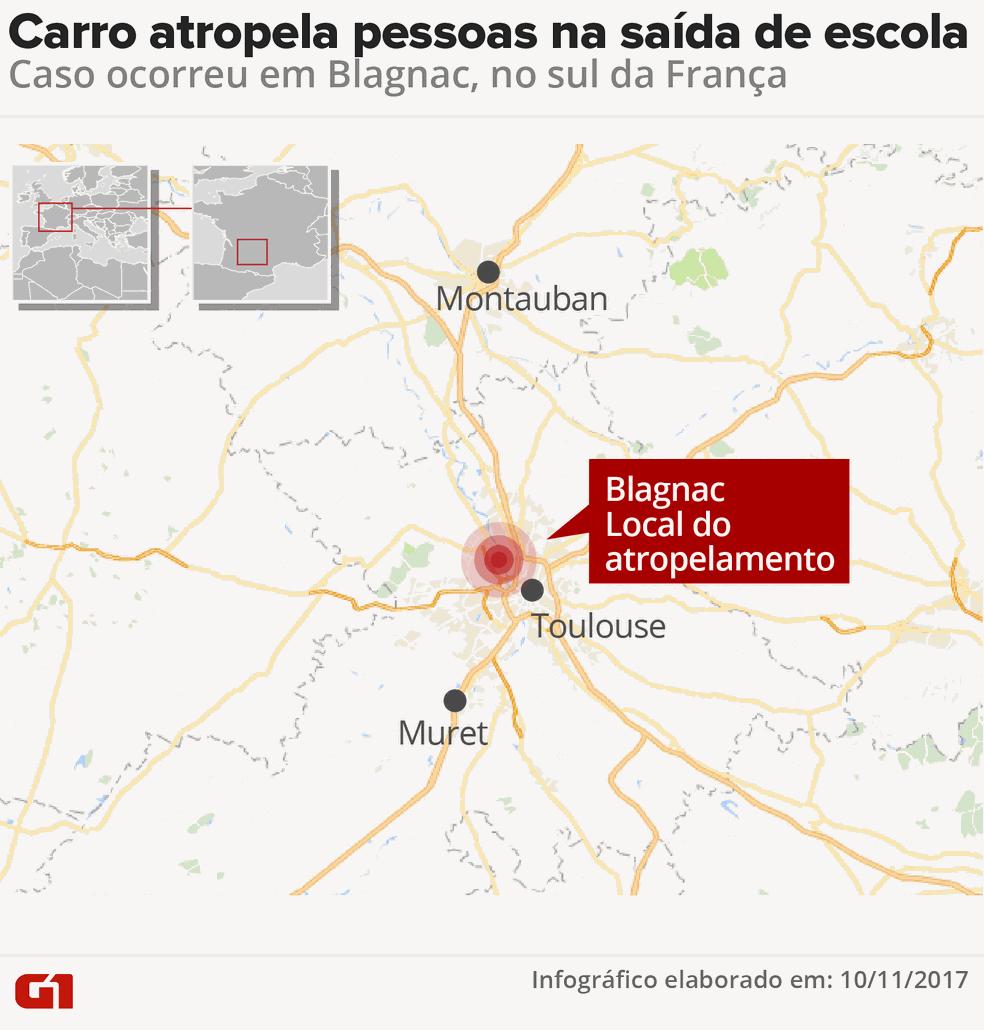 Mapa do atropelamento em Blagnac (Foto: Arte/G1)