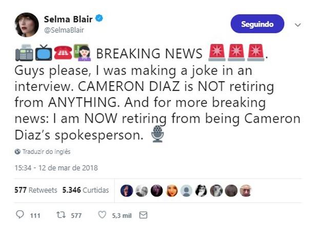 Selma Blair desmente aposentadoria de Cameron Diaz (Foto: Reprodução/Twitter)