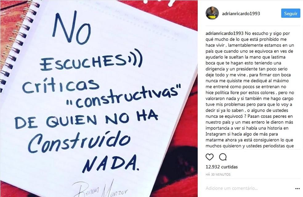 Centurión desabafa em rede social (Foto: Reprodução/Instagram)