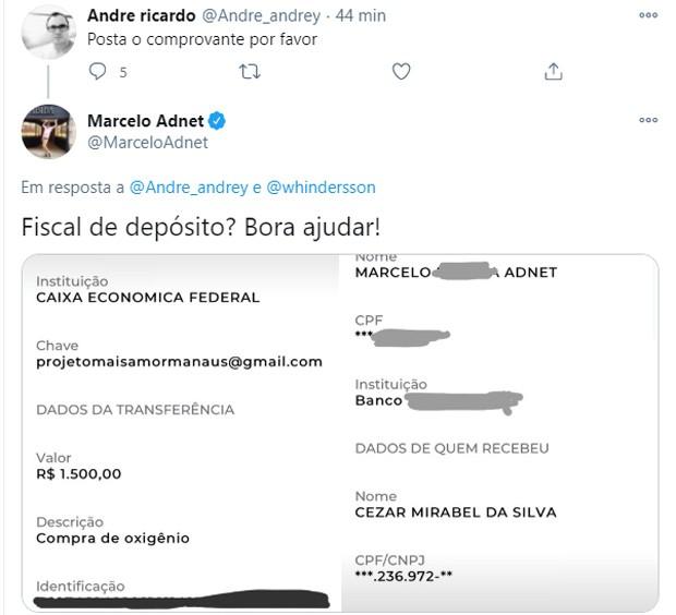 Marcelo Adnet contribui para compra de cilindros de oxigênio para hospitais de Manaus (Foto: Reprodução/Twitter)
