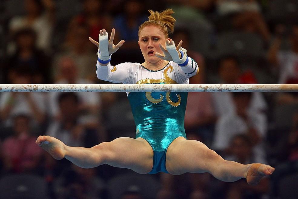 Olivia Vivian, que competiu nas Olimpíadas de Pequim, foi uma das ex-ginastas que denunciaram abusos na Austrália — Foto: Vladimir Rys/Bongarts/Getty Images